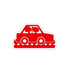 Icon sticker realistic design on paper car girls vector