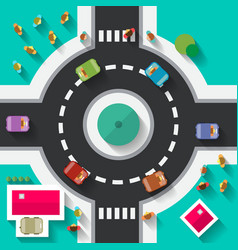 Top view flat design roundabout crossroad - vector