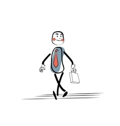 Positive businessman goes to work vector image