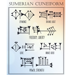 Sumerian cuneiform words meanings tattoo set vector