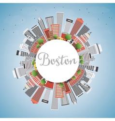 Boston skyline with buildings blue sky vector