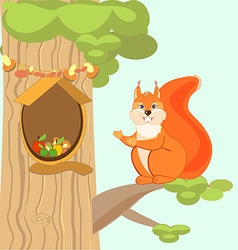 Red fun squirrel invites to his home the hollow vector