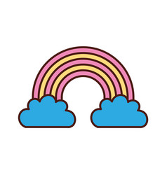 beautiful fantasy cloud with rainbows vector image vector image