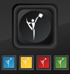 Cheerleader icon symbol set of five colorful vector