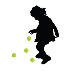 Child silhouette with tenis ball vector