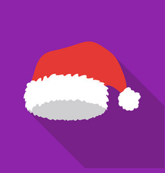 christmas cap icon in flat style isolated on white vector image
