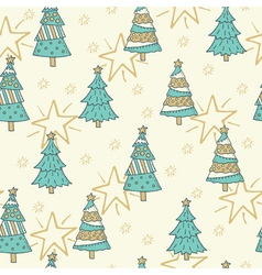 Christmas seamless pattern with trees vector