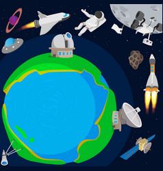 Deep space planet concept cartoon style vector