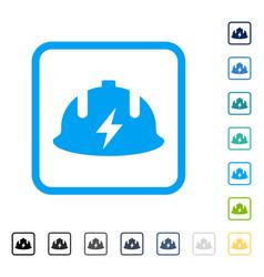 Electrician helmet framed icon vector