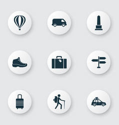 Exploration icons set with sneaker pickup vector