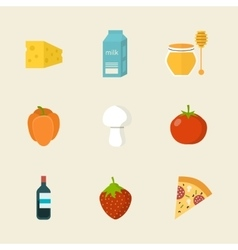Flat design colored of food vector image vector image