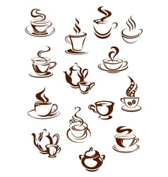 Fragrant coffee in retro style icon set vector image vector image