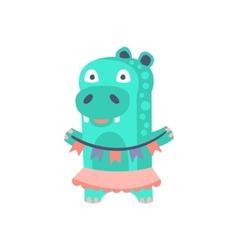 Hippo With Party Attributes Girly Stylized Funky vector image vector image