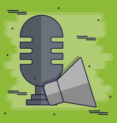 Microphone and megaphone icon vector