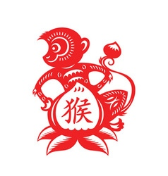 Monkey lunar year symbol vector