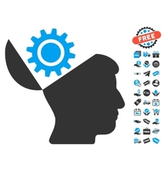 Open head gear icon with free bonus vector