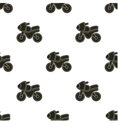 Pattern with cartoon motorbike vector