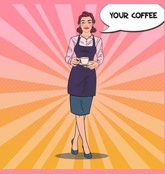 Pop art female bartender with cup of coffee vector