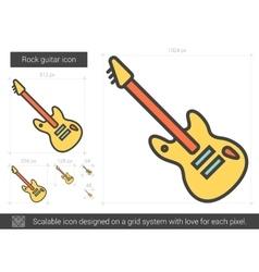 Rock guitar line icon vector