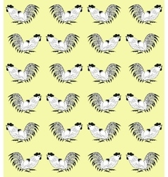 Seamless pattern with cocks on a yellow background vector