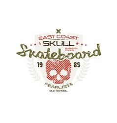Skateboard skull emblem vector image vector image