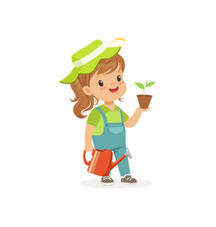 smiling little girl standing with plant and vector image