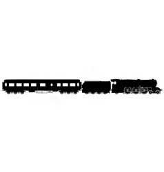 Steam train and carriage silhouette vector