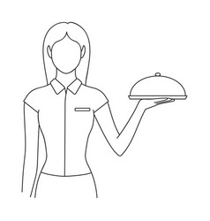 the waitressprofessions single icon in outline vector image