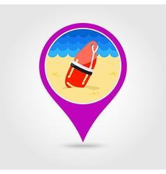Torpedo lifeguard buoy pin map icon Summer vector image