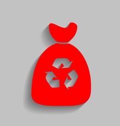 Trash bag icon red icon with soft shadow vector