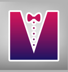 Tuxedo with bow silhouette purple vector
