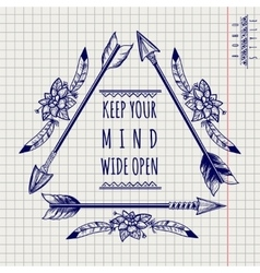 Wild boho emblem with arrows sketch vector image vector image