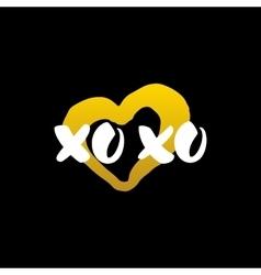 Xoxo heart handwritten calligraphy vector