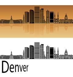 Denver skyline in orange vector