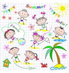 Cute cheerful kids vector image