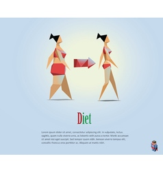 Diet fat and slim girls vector