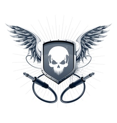 Badge with skull emblem and wires vector