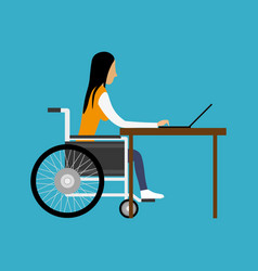 Handicapped woman working with laptop vector