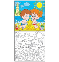 Children at a beach vector