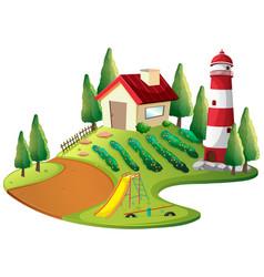Farmer house with vegetable garden and lighthouse vector