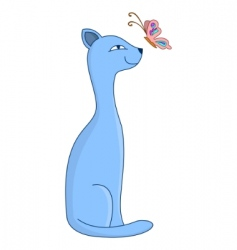 Cat and butterfly vector
