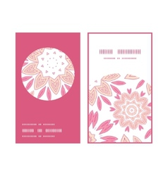 Pink abstract flowers vertical round frame pattern vector