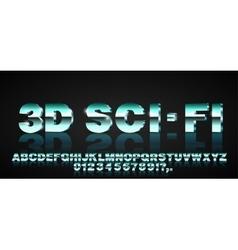 3d sci-fi font vector