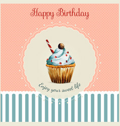 Birthday greeting card template with watercolor vector