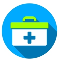 First aid toolbox flat round icon with long shadow vector