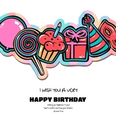 Birthday card with items balloon cake hat vector