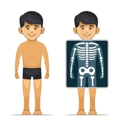 Two cartoon style boy with x-ray screen and vector