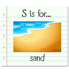 Flashcard letter s is for sand vector