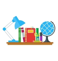 Set of education icons on table vector
