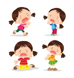 Cute girl crying cartoon vector